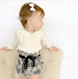 Wholesale INS Baby outfits autumn new baby girls doll lapel long sleeve T shirt tops Bows lace high waist shorts sets kids clothes A9151