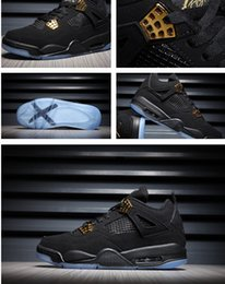 Wholesale Crystal Mesh Fabric Rhinestone - Drop ship 2016 mens Air retro 4 Black Suede basketball Shoes retro 4 Banned Crystal transparent sole sports shoes size 41- 47