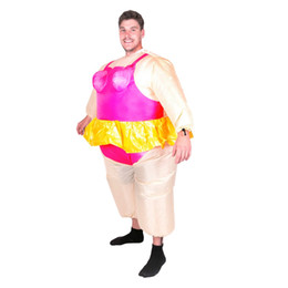 Wholesale Fat Ballet Funny Ballerina Inflatable Costume with Gold Skirt Gold Crown Super Fancy Dress for Adult Men Opera Stage Halloween mascot