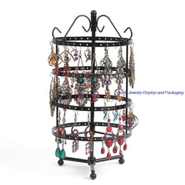 Retail One Bronze Round Perforated Metal Plate Rotating Earring Stand Holder For Jewelry Display Hanger 144 Holes 31CM height