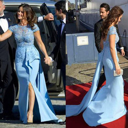 Elie Saab Red Carpet Dresses Evening Wear Appliques Illusion Short Sleeve Mermaid Prom Dres Leg Slits Beads Side Split Evening Dress