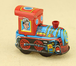 Wholesale New Arrival Reminiscence Children Vintage Wind Up Tin Toy Clockwork Spring Locomotive Classic Toys For Kids WJ040