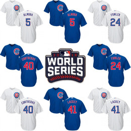 Wholesale 2016 World Series Chicago Cubs Jersey Men s Albert Almora Jr Dexter Fowler Rob Zastryzny Willson Contreras John Lackey Jerseys