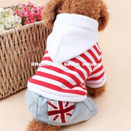 Wholesale DHL dog sweater winter clothes clothing British UK flag striped cowboy hat hooded pet sweater four leg apprel Supplies