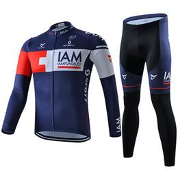 Jerseys de ciclismo conjunto IAM equipo Pro 2016 de manga larga de invierno ropa de bicicleta de montaña transpirable con bicicleta de relleno largo pantalones Ninguno Bib Set desde pro invierno baberos de ciclismo proveedores