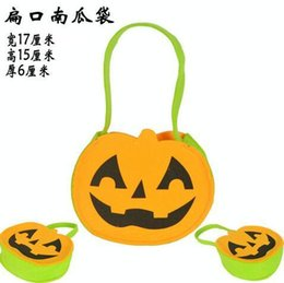 Wholesale children s Halloween Pumpkin bag new design Bag kids orange green andy Basket Children Masquerade Party Performance Props Party Suppli