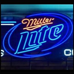 Wholesale Miller Lite bulbs Stars Neon Sign Custom LOGO Handcrafted Real Glass Tube Neon Beer Bar Club Pub KTV Advertising Display Neon quot X14 quot