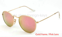 Best Quality Round Metal Sunglasses Designer Glasses Eyewear Gold Pink Flash Glass Lenses For Mens Womens