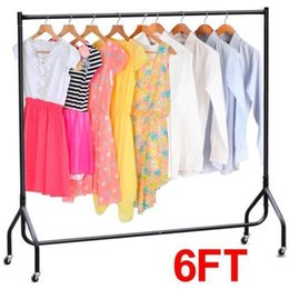 New Heavy Duty Rolling Commercial Rail Portable Drying Clothes Garment Rack