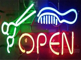 Wholesale 2016 LED Salon Barber Open Real Glass Neon Light Signs Bar Pub Restaurant Billiards Shops Display Signboards quot x14 quot