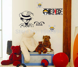 2Cartoon Marine Wall sticker One Piece Car sticker Vinyl Wall decal Strong World Stickers for Kids rooms Free Shipping