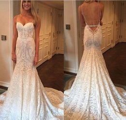 Wholesale 2016 New Sexy Designer Luxury Full Lace Wedding Dresses Sweetheart Spaghetti Straps Backless Berta Mermaid Vestios De Novia Bridal Gowns
