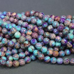 Jasper Natural Stone Purple Mix Aqua Gemstone Emperor Imperial Jasper Beads Round Smooth Beads Wholesale Price Women Necklace Making Jewelry