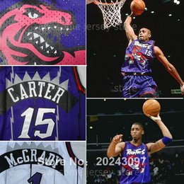 Wholesale Top quality Tracy Mcgrady Vince Carter Raptors Jersey Purple white Shirt Black Retro basket homme jerseys mesh s xxl