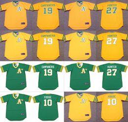 Wholesale Men RAY FOSSE BERT CAMPANERIS JIM HUNTER Oakland Athletics Majestic Cooperstown Away Baseball Jersey stitched