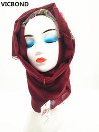 VICBOND Hot sale optional colour hollow flower lace cotton scarf shawl pashmina women Muslim hijab fashion soft 10pcs lot