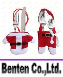 Bolsas de bolsillos en Línea-Cuchillería de la cocina Traje titulares Cubiertos Cuchillos Pockets gente bolsa de muñeco de nieve partido en forma de Papá Noel de Navidad Decoración Suministros LLFA