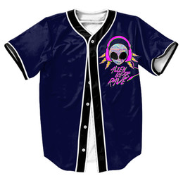 Wholesale-Alien Rave Jersey with Single Breasted Hip Hop Men's shirts Streetwear baseball shirt sport tops Tees Summer Style Casual