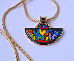 Hundertwasser Village Series 18K gold-plated enamel necklaces for woman Fan Pendant Necklace colar women necklace