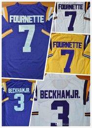 Wholesale Mens Leonard Fournette Jersey Odell Beckham Jr LSU Jersey College Football Jerseys Stitched Purple White Size S XL