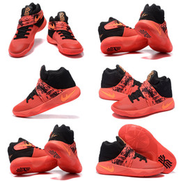 Wholesale with shoes Box Kyrie II Irving Men Basketball Shoes Low Shoes Inferno Bright Crimson Atomic Orange Black Tie Dye Kids shoes