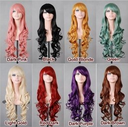 Wholesale Long Curly Blonde Pink Wigs - Hot long colorful cosplay wigs synthetic material long curly hair with oblique bangs OPP bag packing
