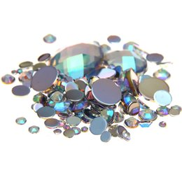 Mixed Sizes Crystal AB Color Round Acrylic Loose Non Hotfix Flatback Rhinestones Nail Art Crystal Stones For Wedding Clothing Decorations