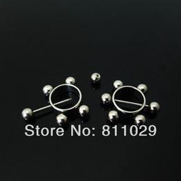 Pendientes del pezón en venta-el envío libre al por mayor 20pcs perforación del oído Piercing del acero inoxidable del pendiente del anillo del pezón perforación plata 4 bolas