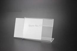 Promotion tableau acrylique clair 9 * 6cm 100 pcs T 2MM Acrylique Clear signe titulaire Price Tag cadre d'affichage de table Nom de la table Card Stand Holder étiquette cadre