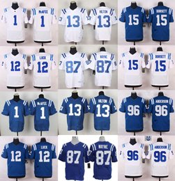 Wholesale 2016 NEW football jerseys Andrew Luck Andre Johnson Coby Fleener Elite Frank Gore Football jerseys Embroidery Logo Mix Order