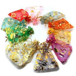 Organza Bags Jewelry Gift Pouch Bag with Mixed Color Size satin drawstring 9*7CM in stock fast shipment