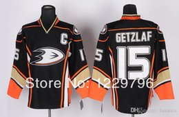 Promotion patch patch bon marché Livraison Gratuite Anaheim Ducks Hockey Jerseys 15 Ryan Getzlaf Jersey Troisième Noir Alternate Ice Jerseys C Patch Chine
