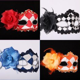 Wholesale Women Venice Painted Masks Flower Side Nice Eyeliner Halloween Masquerade Party Face Mask Festive Supplies Online Store