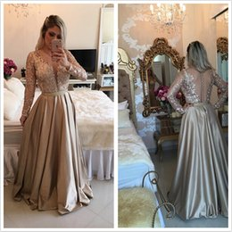 Wholesale 2016 Barbara Melo Gold Long Sleeves Satin Prom Dresses Deep V Neck with sequins applique bodice and Sheer Back Prom Dresses