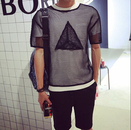 2016 New arrival Europe style Men's Clothing perspective Club short sleeve T-Shirts Metrosexual slim hollow gauze Black   White Tees & Tops