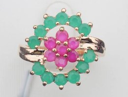 h3A51 Green Red 100% Natural Emerald Ruby 14K Yellow Solid Gold Size US 5