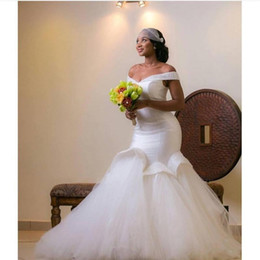 African Mermaid 2016 Wedding Dresses Off Shoulder Plus Size Wedding Gowns Back Lace-up Embroidery Sweep Train Custom Made Bridal Dress Cheap