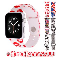 Wholesale Apple Watch Band Silicone Strap Watch Bracelets for iWatch mm mm Red Lips American Flag Zebra Print