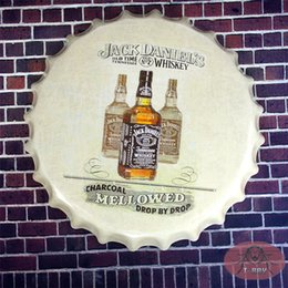 Wholesale Round metal signs Old Time No Whiskey Tin Sign Beer cap Bar Home Decor Man Cave Pub cm RD