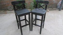Wholesale Black bar stool pine charcoal leather seat high retro leg