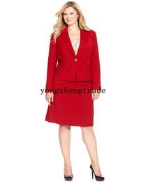 Women Custom Suit Plus Size Red Suit Plus Size One Button Blazer & Plus Size A-Line Skirt Notched collar Flap Pocket HS7953