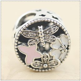 New 2016 Spring 925 Sterling Silver Springtim Charm Bead with Pink Enamel and Cz Fits European Jewelry Bracelets & Necklace