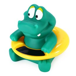Wholesale Fashion Cute Baby Bath Tub Thermometer Toys Silicone Cartoon Crocodile Shape Bath Tub Electron Water Thermometer Toy Baby Gifts
