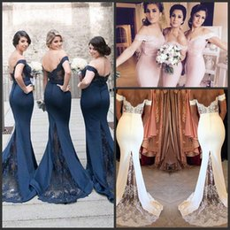 Pink Blue Or Whire Popular Mermaid Bridesmaid Dresses 201 New Lace Applique Off Shoulder Cap Sleeve Sexy Evening Prom Dress Gowns Cheap