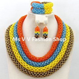 Fantastic 4 Layers sky blue orange yellow coffee African Nigerian Wedding Beads Jewelry Set Chunky Statement Necklace Set for women gift