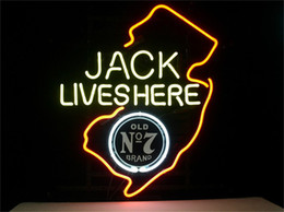 Wholesale NEON SIGN JACK DANIELS LIVES HERE NEW JERSEY WHISKEY Custom Store Display Beer Bar Pub Club Lights Signs Shop Decorate Real Glass Tube Bulbs