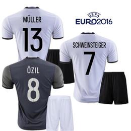 Wholesale 2016 Deutschlan Muller Jerseys Home Away Germany Soccer Jerseys Sets SCHWEINSTEIGER OZIL Gotze Reus Kroos Neuer HUMMELS Euro FootballKits