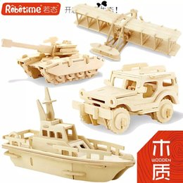 DIY 3D Wooden Puzzle For Children To Develop Their Manipulative Ability With Kit:Car Plan Helicopter Tank And Other Parttens