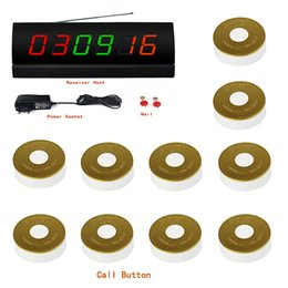 Wholesale New Wireless Restaurant Guest Paging Queuing System Call Pager With Black Receiver Host Transmitter Call Bell Button F3180A