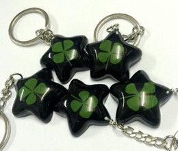 FREE SHIPPING wholesale lots 14 keychain jewelry real four leaf clover jewelry star style key ring